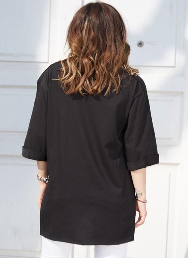 XHAN Boyfriend Basic T-Shirt 9Kxk2-42904-02 Siyah